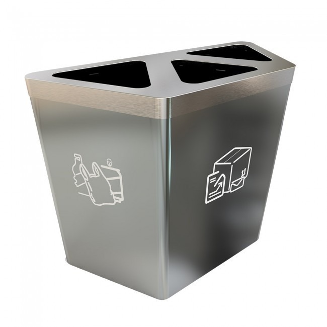 Durable Public Stainless Steel Recycling Trash Bin classifie