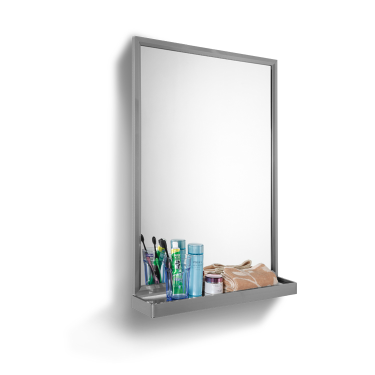 Stainless Bathroom Mirror With Shelf