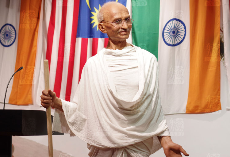 Famous political celebrity full size wax statue of Gandhi